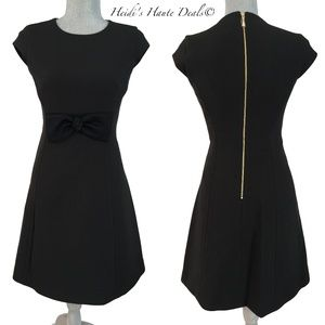 Kate Spade Black Crepe Bow Waist Flare Dress 2 XS